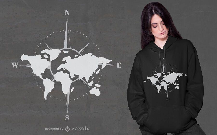 World map compass t-shirt design