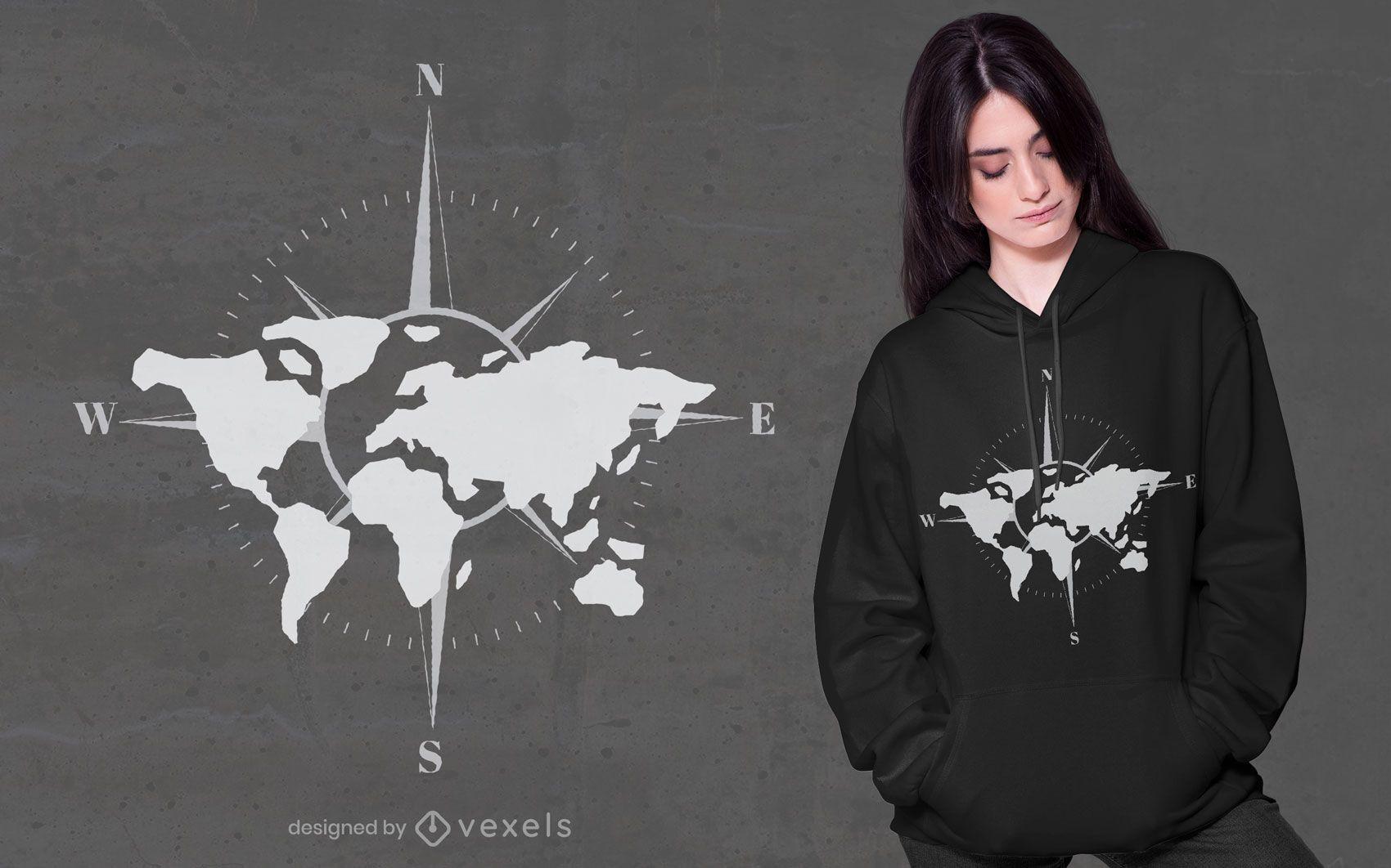 Dise?o de camiseta de br?jula de mapa mundial