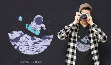 Diseño de camiseta de astronauta de patinaje.