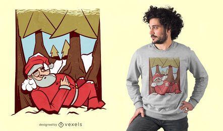Diseño de camiseta de papá noel durmiendo