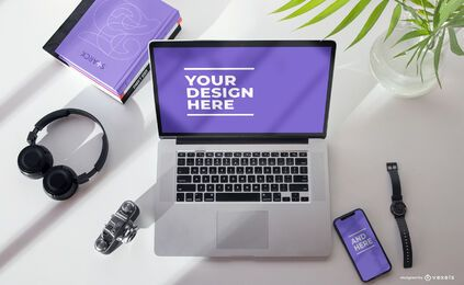 Electronic devices mockup composition psd
