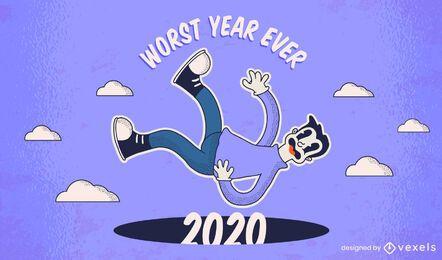 Design de ilustração do pior ano de 2020