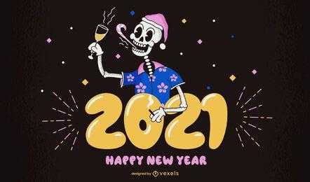 2021 feliz año nuevo diseño de ilustración