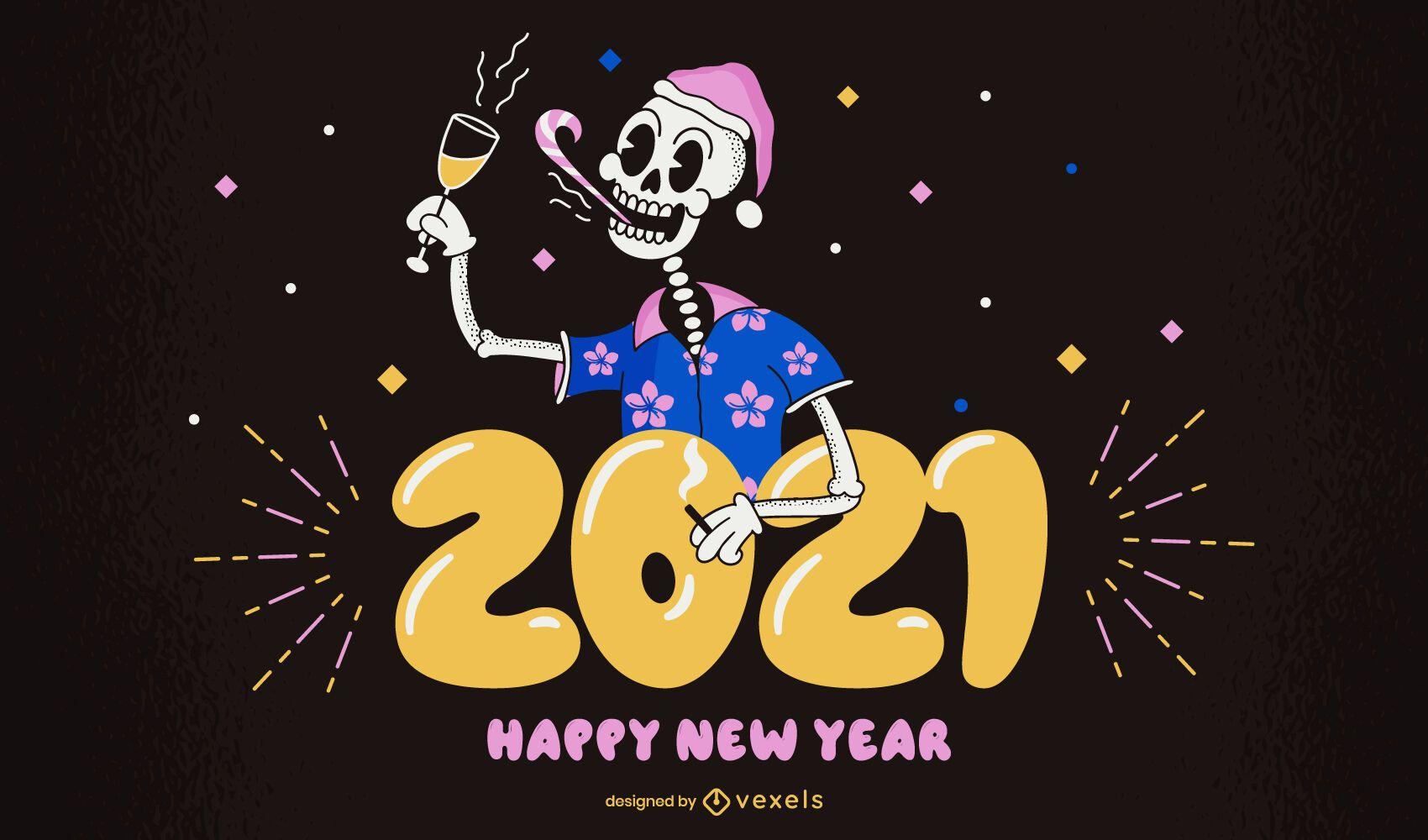 2021 happy new year illustration design