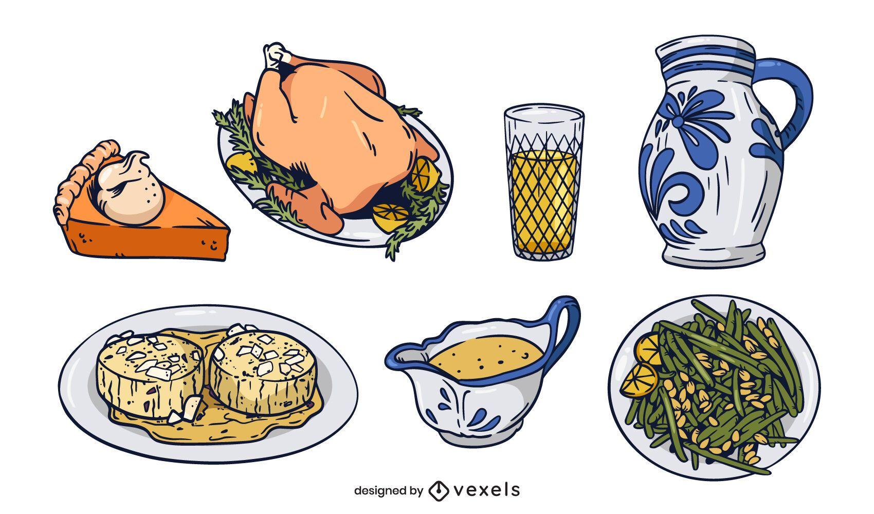 Traditional german food illustration