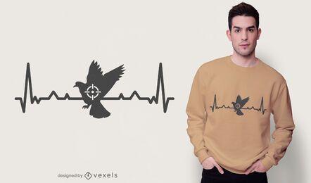 Design de camiseta de caça ao pombo Heartbeat