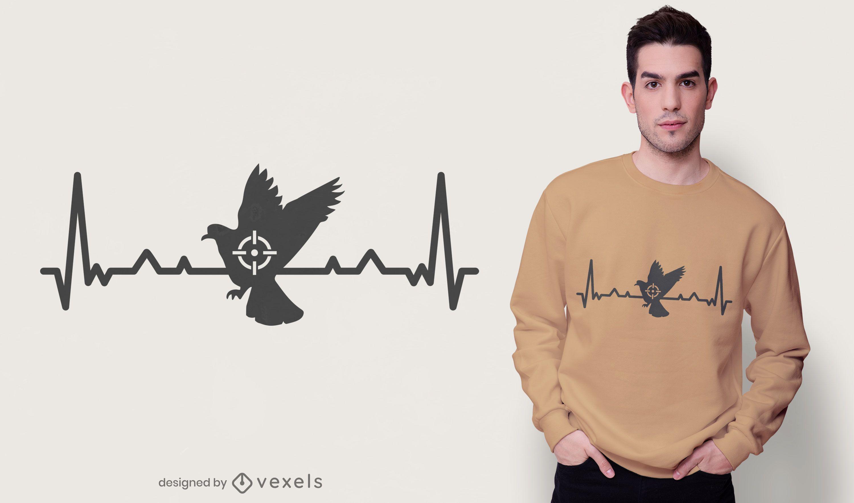 Heartbeat pigeon hunting t-shirt design
