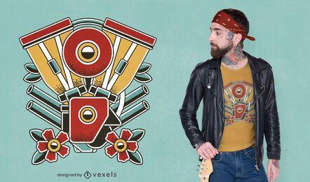 Diseño de camiseta de tatuaje de moto.