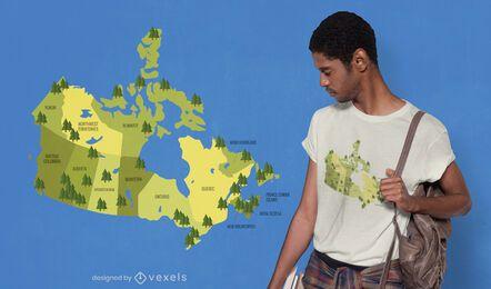 Diseño de camiseta de mapa de parques nacionales de Canadá