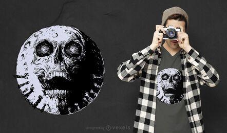 Design de t-shirt da lua do crânio