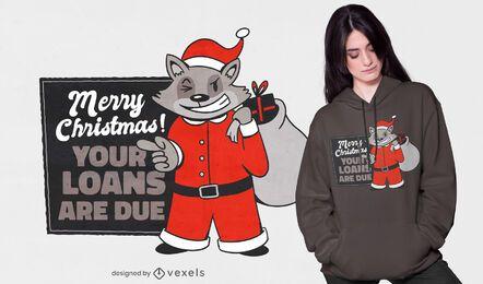 Diseño de camiseta de mapache navideño