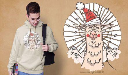 Diseño de camiseta santa llama