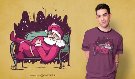 Schlafender Weihnachtsmann-T-Shirt-Entwurf