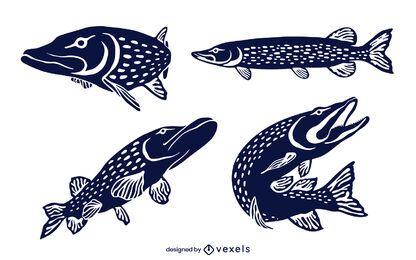 Conjunto de design de peixe pique