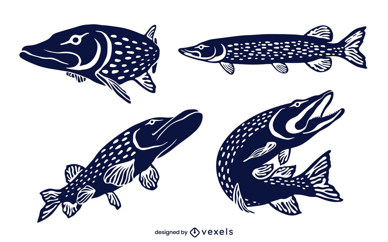 Conjunto de diseño de pez lucio