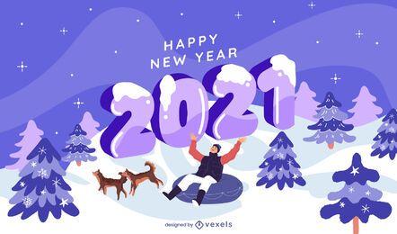 Desenho de ilustração de inverno de ano novo de 2021