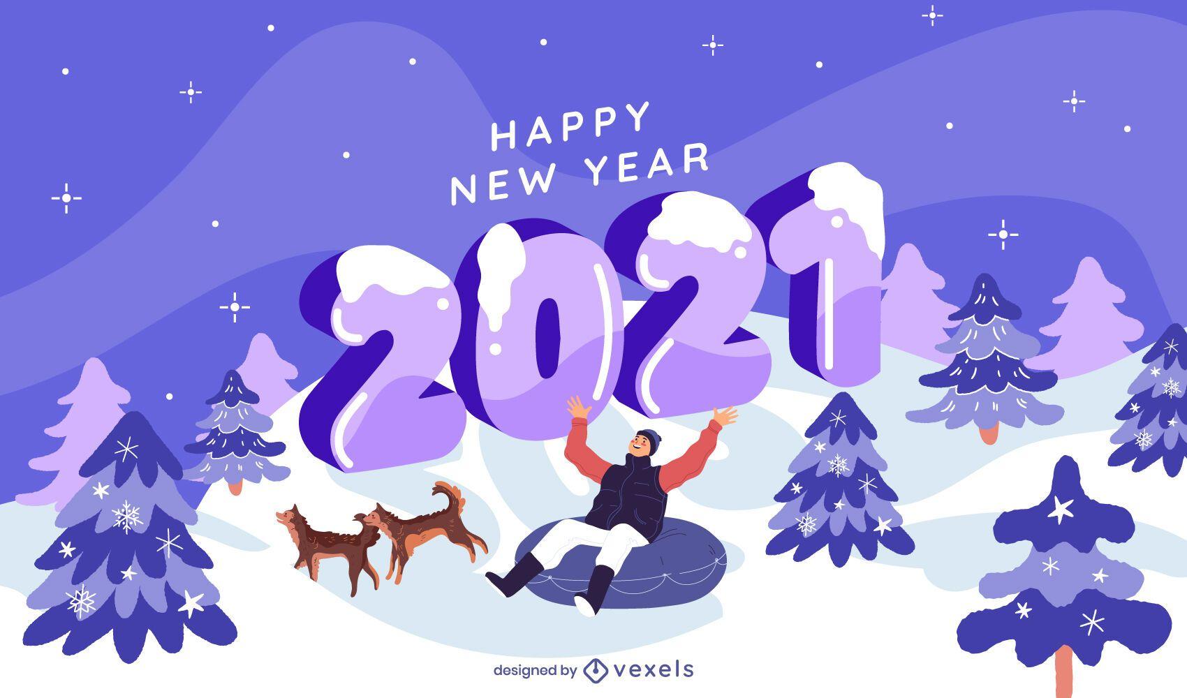 New year 2021 winter illustration design