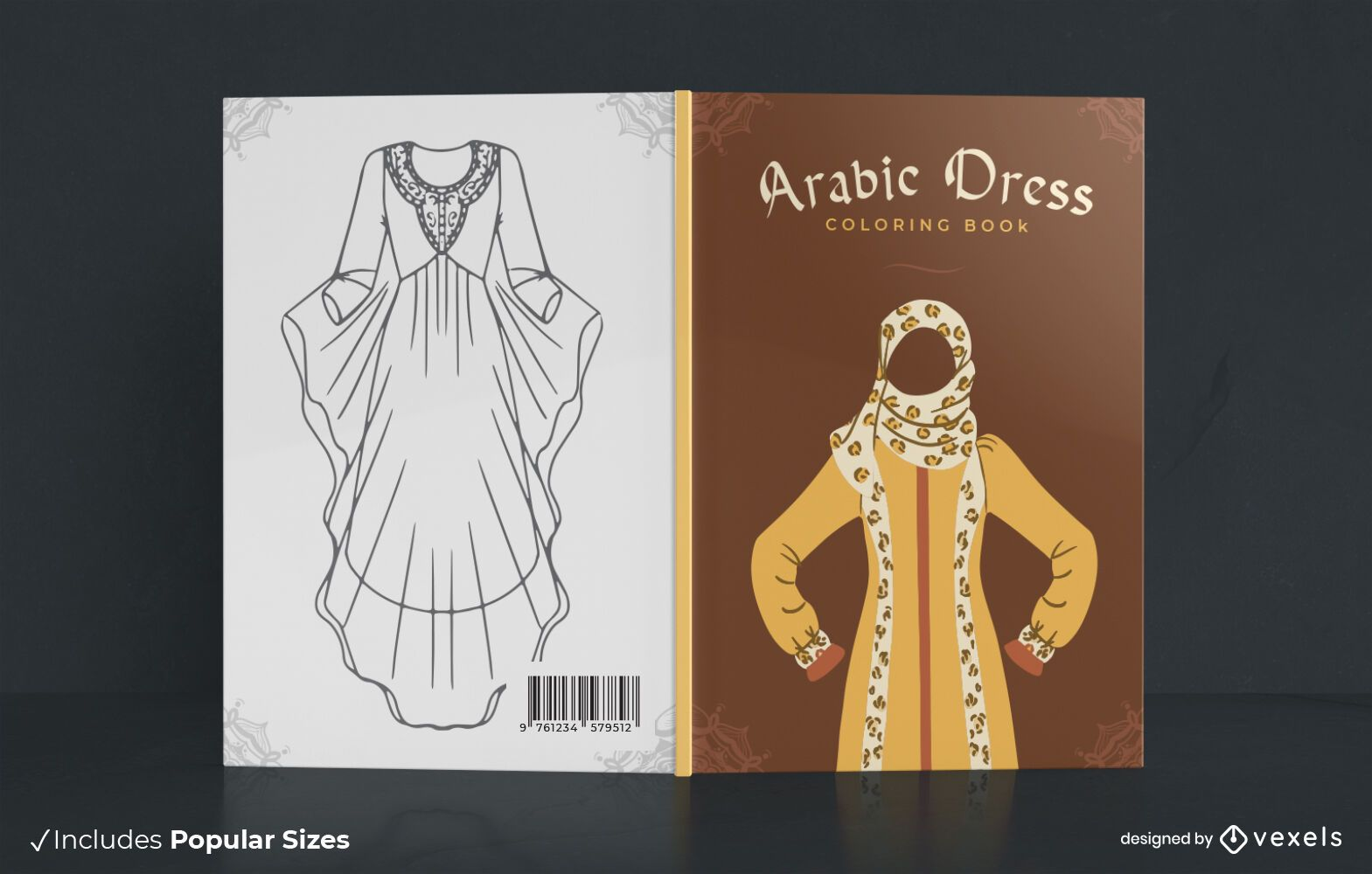 Dise?o de portada de libro de colorear de vestido ?rabe