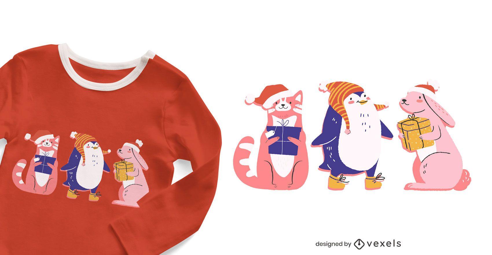 Lindo diseño de camiseta de animales navideños.
