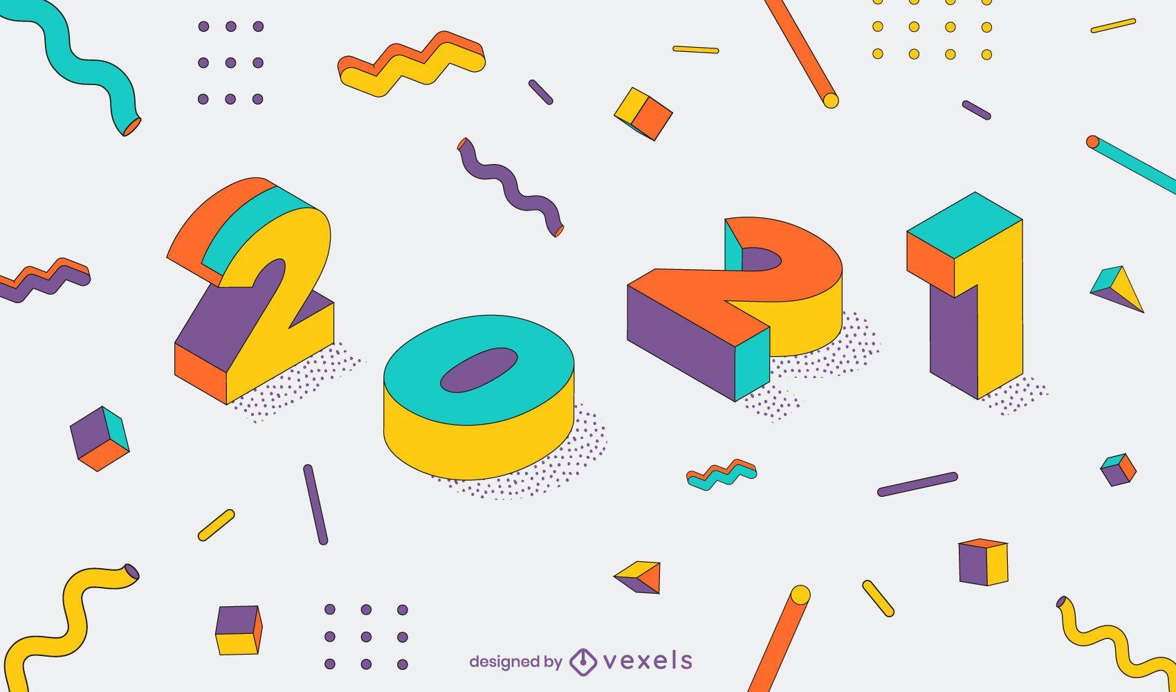 2021 año nuevo diseño de ilustración 3d
