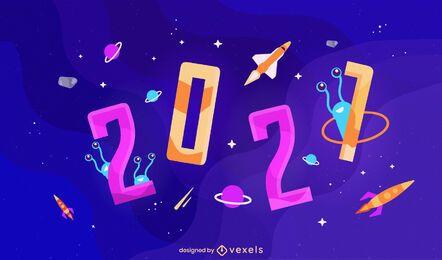 2021 diseño de ilustración del espacio
