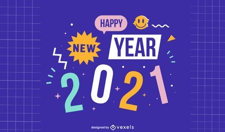 Ilustração de feliz ano novo 2021
