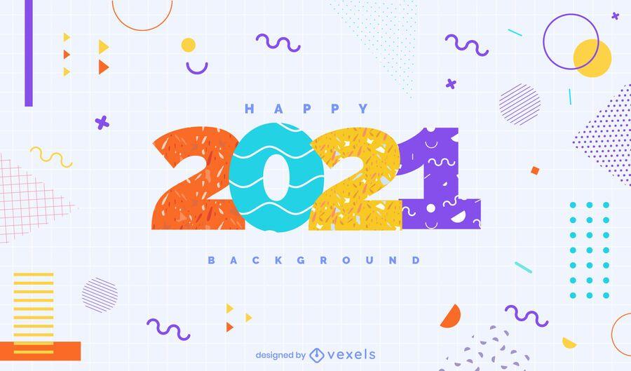Happy 2021 background design