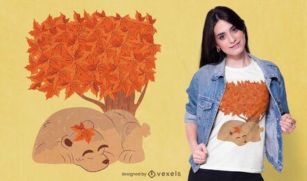 Design de camiseta de urso dormindo