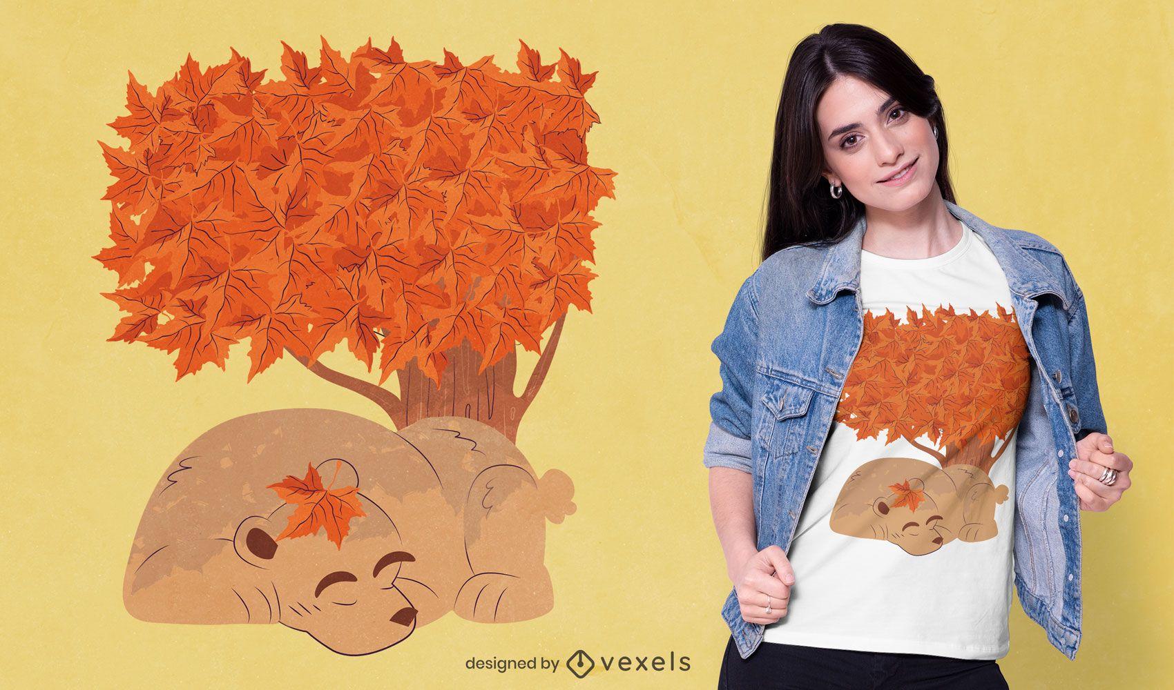 Diseño de camiseta de oso durmiendo