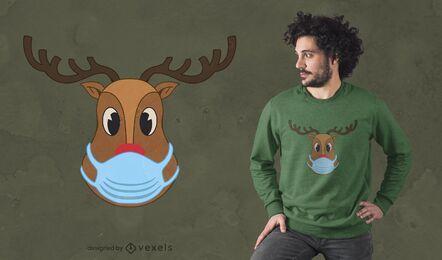Diseño de camiseta Rudolph face mask