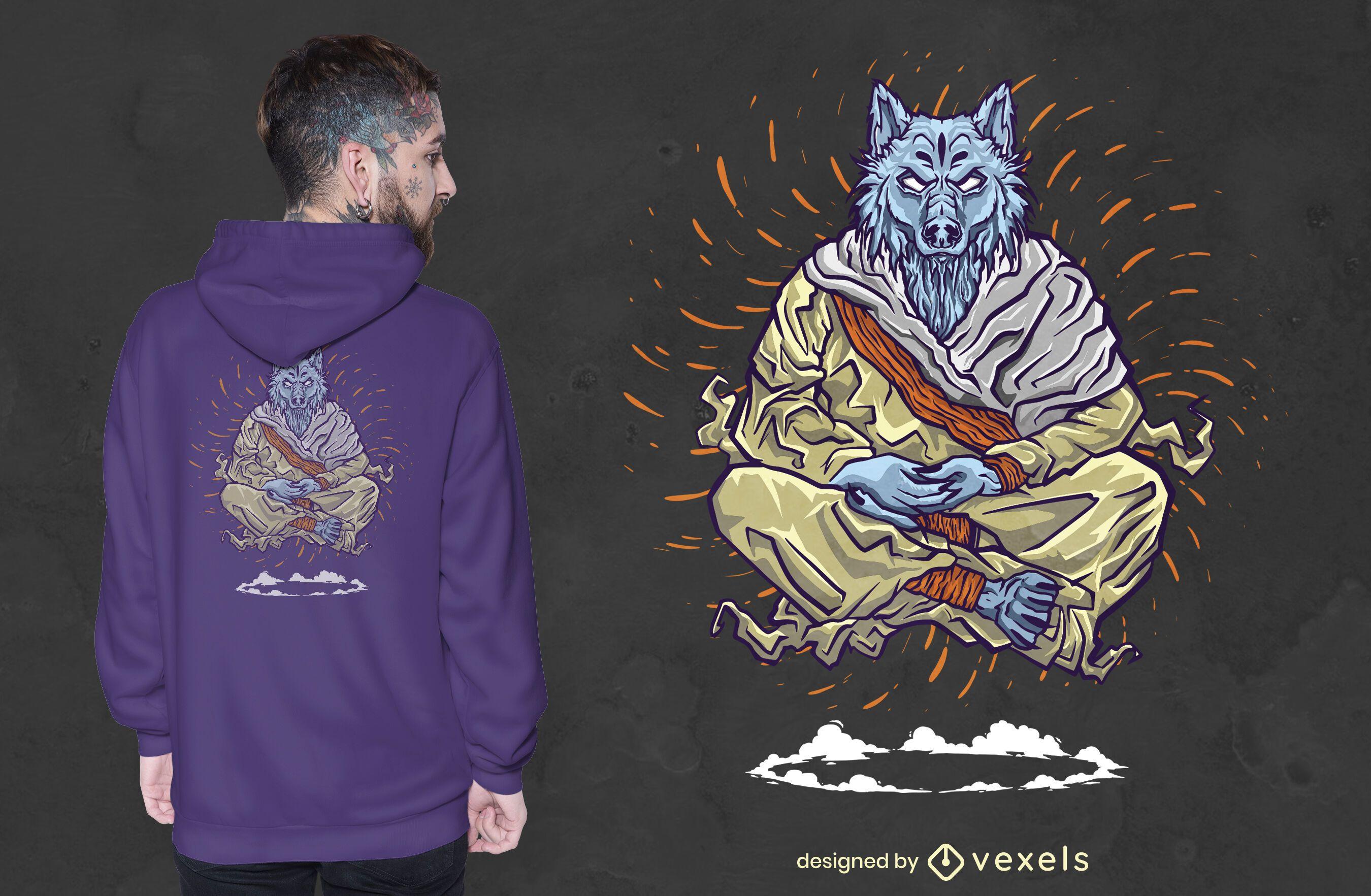 Diseño de camiseta de monje meditando.