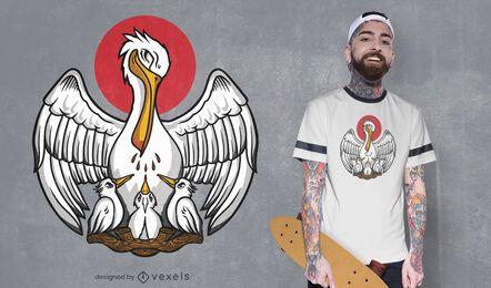 Diseño de camiseta de la familia Pelican