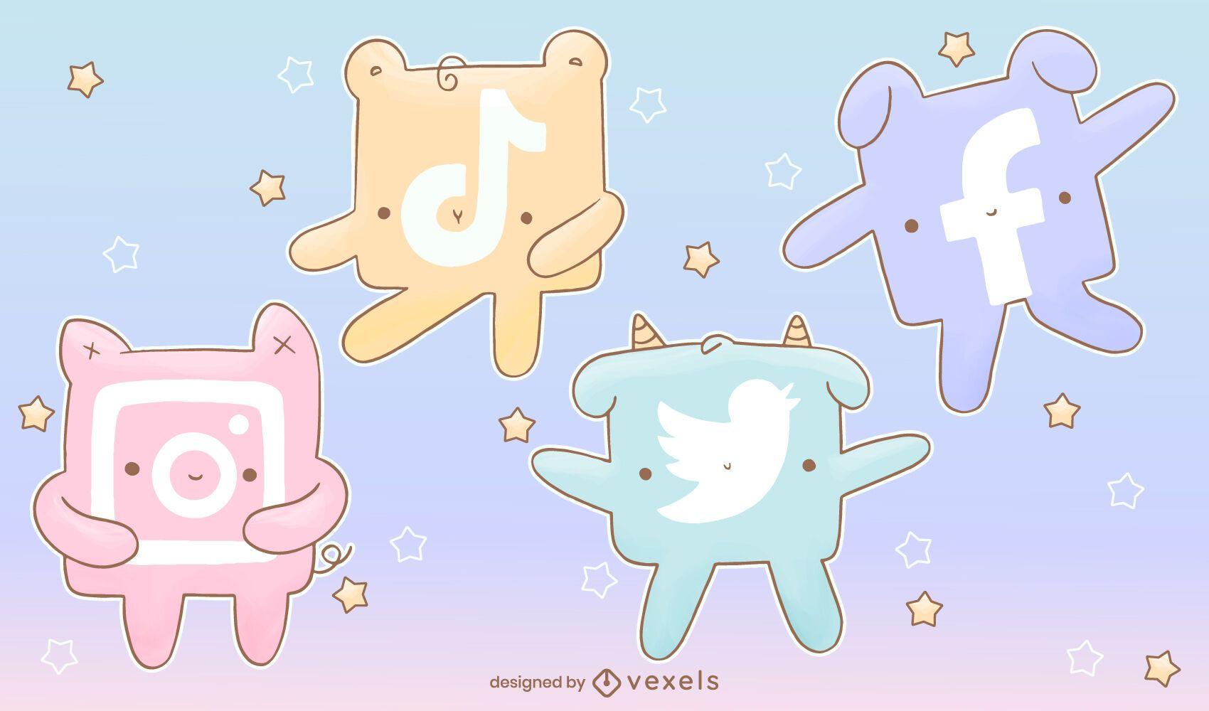 Conjunto de iconos de redes sociales kawaii