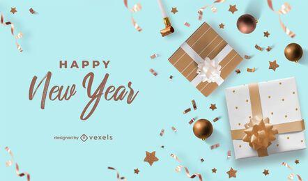 Feliz año nuevo diseño de fondo de fiesta