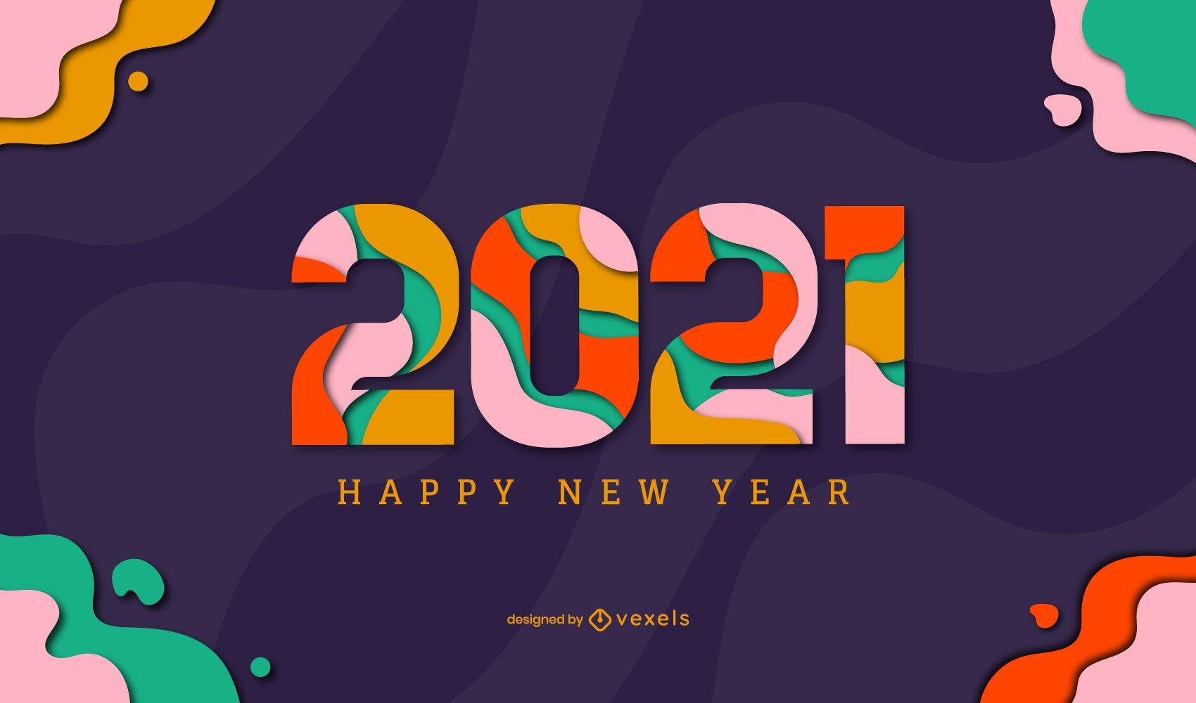 Feliz año nuevo 2021 diseño de ilustración