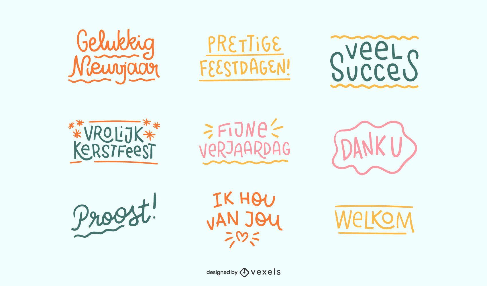 Dutch celebration quotes set