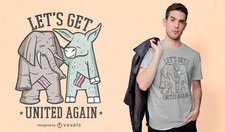 Diseño de camiseta de elefante y burro.