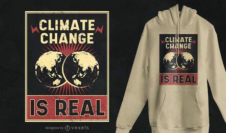 Design de camiseta de pôster sobre mudança climática