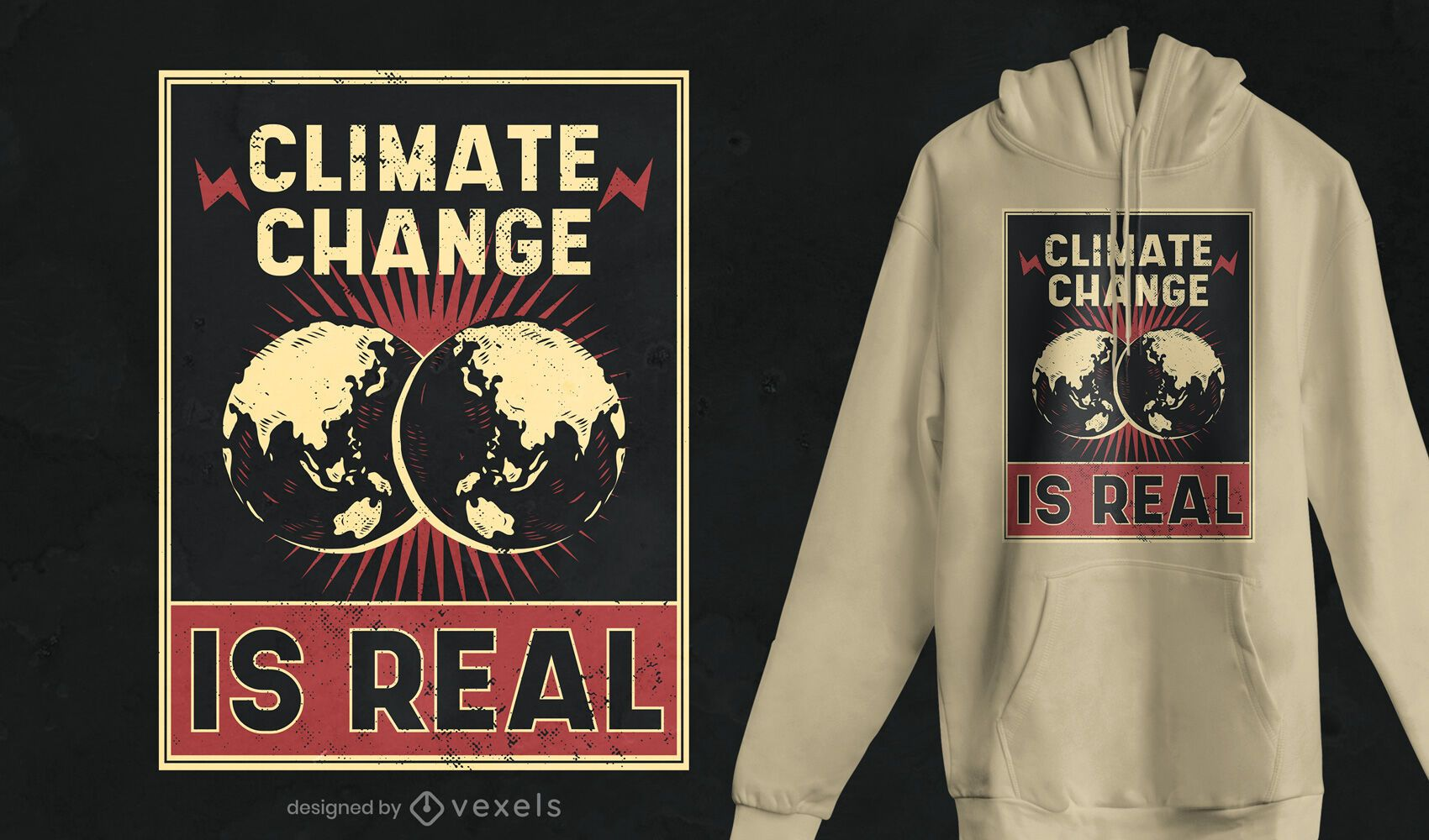 Climate change poster t-shirt design