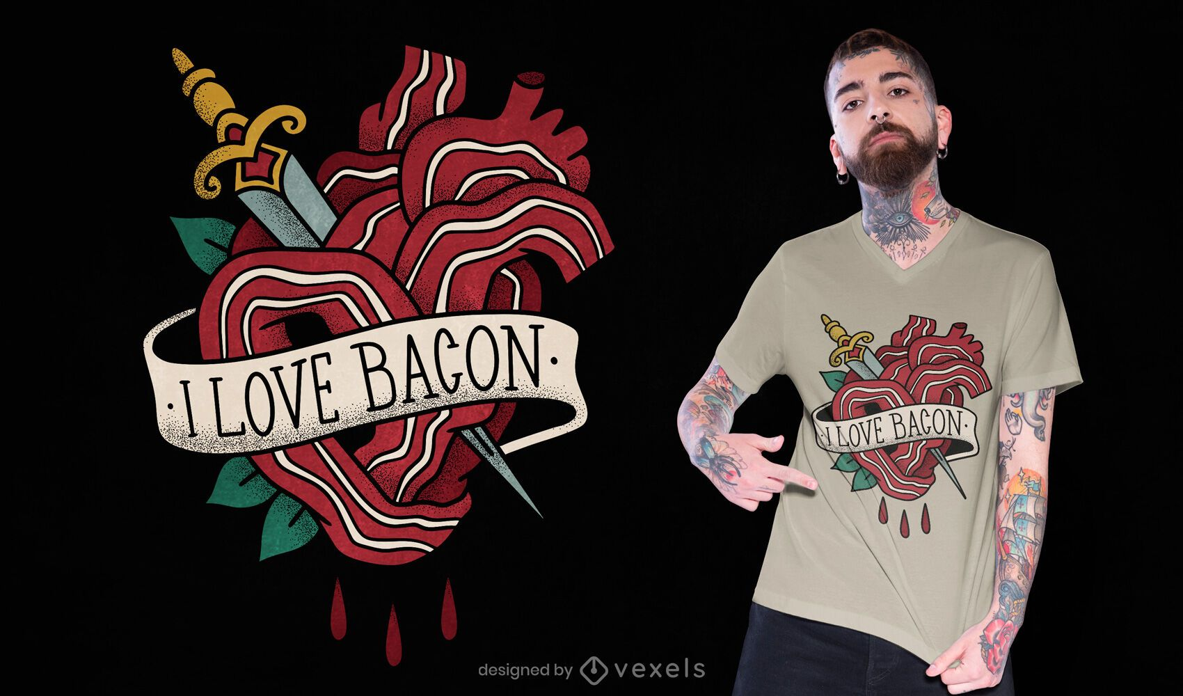 I love bacon tattoo t-shirt design