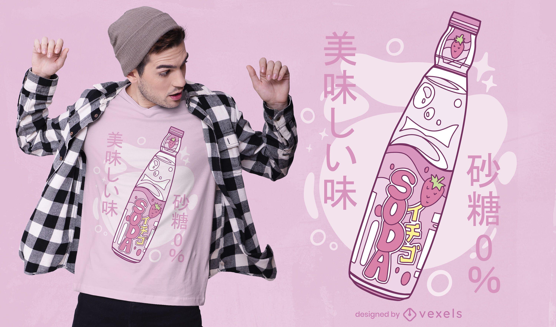 Diseño de camiseta de refresco japonés.