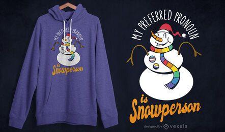Design de camiseta do boneco de neve