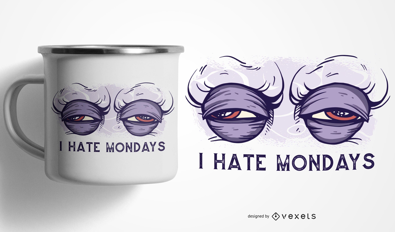 Eu odeio design de caneca de segunda-feira