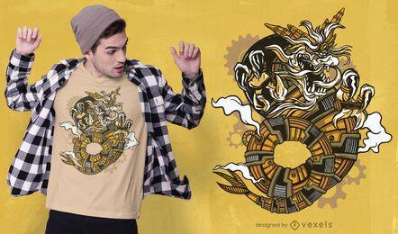 Design de camiseta com dragão Steampunk