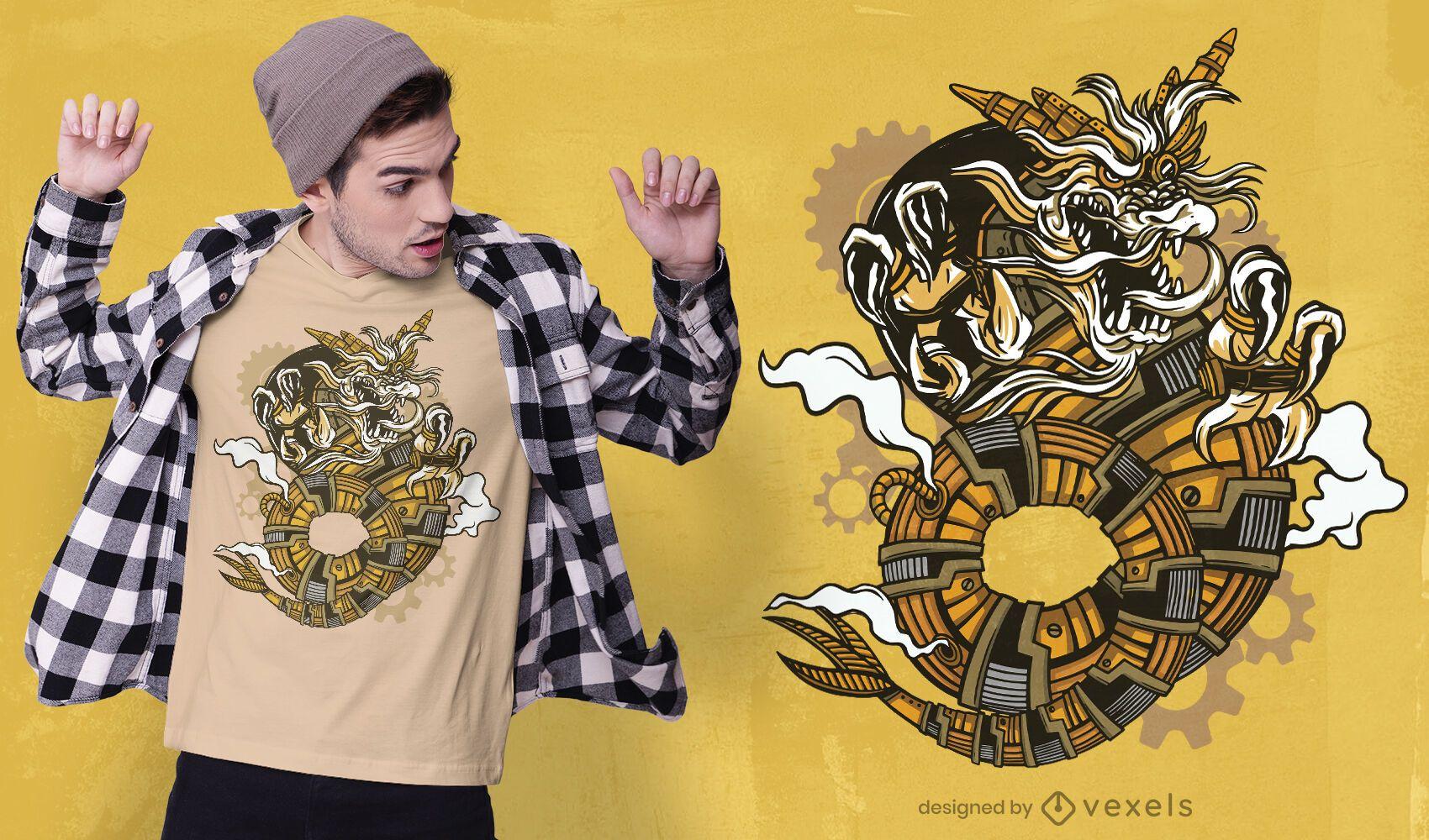 Diseño de camiseta de dragón steampunk