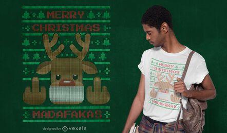 Suéter feio com design de camiseta de rena