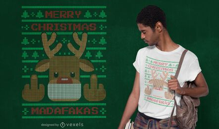Ugly sweater reindeer t-shirt design