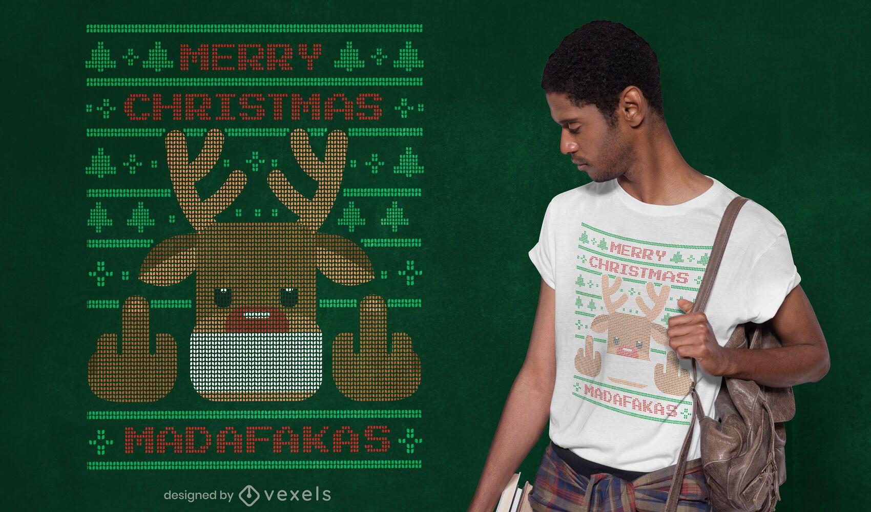 Ugly sweater reindeer t-shirt design