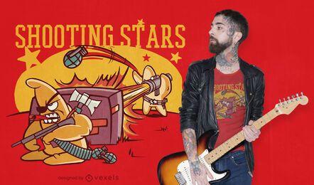 Diseño de camiseta de juego de palabras de estrellas fugaces