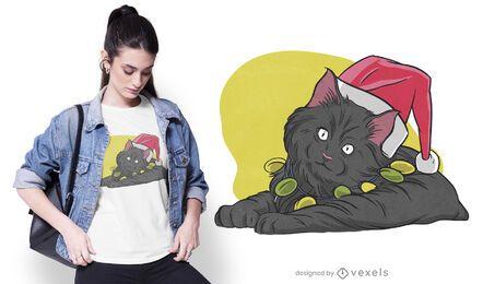 Diseño de camiseta de gato negro navideño